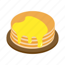 dessert, food, honey, isometric, pancake, plate, sweet icon