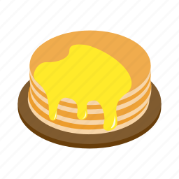 dessert, food, honey, isometric, pancake, plate, sweet icon
