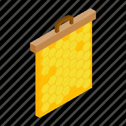 bee, hexagon, hive, honey, honeycomb, isometric, nature icon