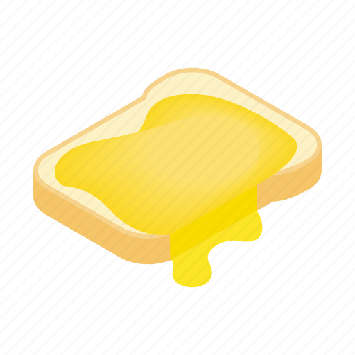 bread, breakfast, food, honey, isometric, sweet, toast icon