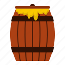 agriculture, barrel, bee, board, cask, container, honey keg