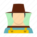 adult, bee, beekeeper, employment, hat, honey, honeycomb icon