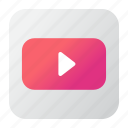 aplication, media, multimedia, video, youtube icon
