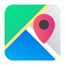 aplication, location, map, navigation, pin icon