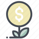 cash, dollar, economy, money, growth, plant, success icon