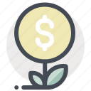 business, dollar, economy, finance, grow, money, plant icon