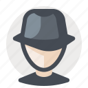 avatar, business, cap, detective, man, search, spy icon