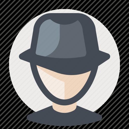 avatar, business, cap, detective, man, search, spy icon