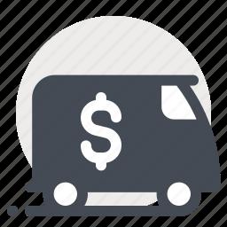 cash, delivery, dollar, economy, money, transportation, truck icon