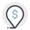 bank, business, dollar, finance, location, money, place icon