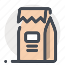 food, kitchen, milk, package, packed, paperbag icon
