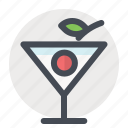 alcohol, cherry, cocktail, drink, glass, party, summer icon