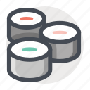 food, japanese, kitchen, maki, makizushi, restaurant, sushi icon