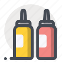 bottle, fastfood, food, ketchup, mustard, sauce, test icon