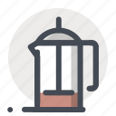 coffee, coffeepot, drink, frenchpress, kettle, pot, tea icon