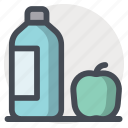 apple, bottle, food, health, healthy, milk, study icon