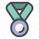 badge, medal, prize, second, silver, trophy, winner icon