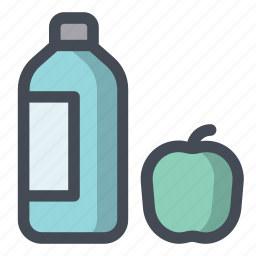 apple, bottle, daily, food, healthy, milk, need icon