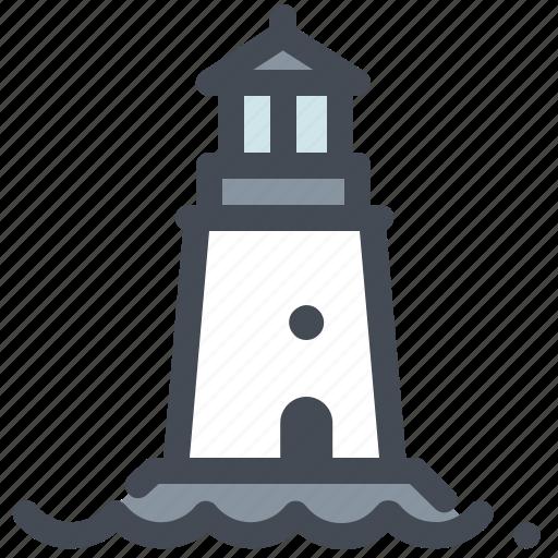 fishing, lighthouse, marine life, ocean, sea, signal, signpost icon