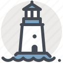 guide, house, light, lighthouse, marine, navigation, sea icon