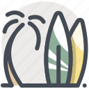 ocean, palm, sea, sports, surfing, tree, water icon