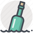 bottle, help, message, ocean, path, sea, sos icon