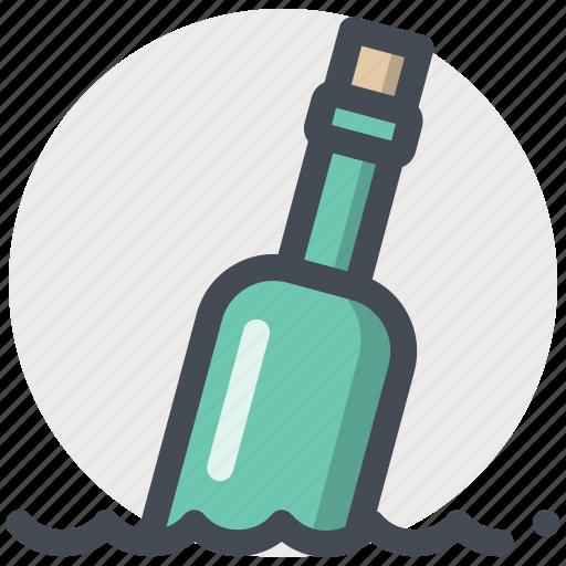bottle, help, message, ocean, path, sea, sos icon