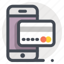 credit card, finance, mobile, online, payment, shopping, transaction icon