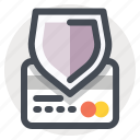 credit card, debit card, payment, protection, shield, shopping, transaction icon