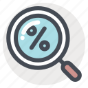 discount, find, offer, percentage, sale, search, shopping icon
