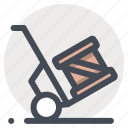box, delivery, handtruck, logistic, package, parcel, shop icon