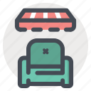 couch, discount, offer, retail, shopping, sofa, store icon
