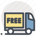 delivery, free, package, parcel, transport, truck, vehicle icon