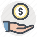 care, cash, coin, dollar, donation, hand, money icon