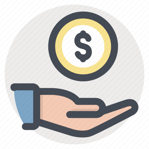 care, cash, coin, dollar, donation, hand, money icon