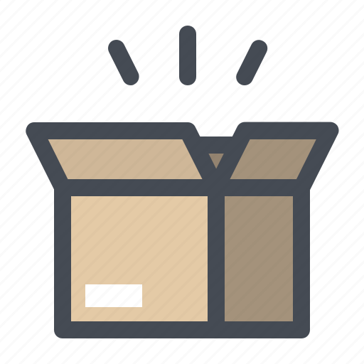 box, courier, delivery, item, open, parcel, shopping icon