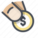 cash, donation, hand, money, payment, social cause, transfer icon