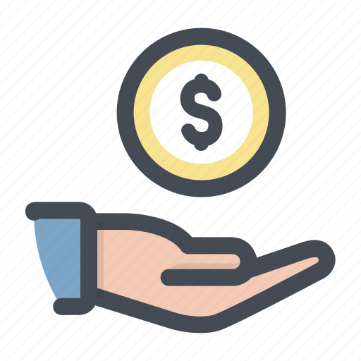 care, cash, coin, dollar, donation, money, payment icon