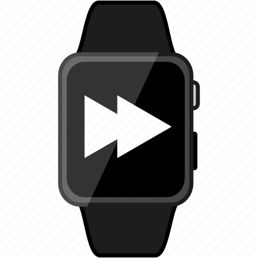 apple, device, forward, grey, metalic, time, watch icon