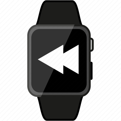 apple, grey, metalic, rewind, watch icon