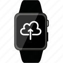 apple, cloud, data, grey, metalic, upload, watch icon