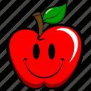 apple, cheerful, emoji, emoticon, funny, happy, smile