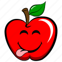 apple, cheerful, emoji, emoticon, funny, joyful, tongue icon