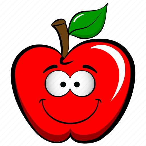 apple, cheerful, emoji, emoticon, funny, happy, joyful icon