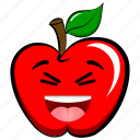 apple, cheerful, emoji, emoticon, happy, joyful, laugh icon