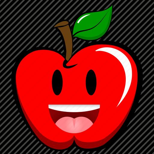 apple, cheerful, emoji, emoticon, happy, joyful, laugh icon