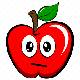 apple, astonished, confused, cute, emoji, emoticon icon