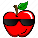 apple, arrogant, cool, emoji, emoticon, sunglasses icon