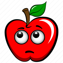 apple, cute, embarrassed, emoji, emoticon, pensive, scared icon