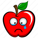 apple, cry, emoji, emoticon, sad, upset, whiner icon